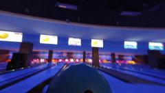 Person playing bowling, throwing a ball, active rest, gopro, click for HD Stock Footage