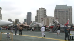 Military jets on display at an aircraft museum Stock Footage