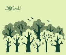 Abstract banner of green deciduous  forest. - stock illustration