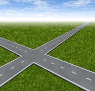 crossroad decision dilemma - stock illustration