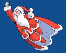 Santa claus as superman, illustration Piirros