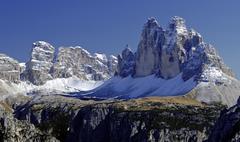 drei zinnen (tre cime di lavaredo), sextenan dolomites, south tyrol, italy - stock photo