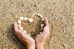 Hands surrounding a heart made of shells Stock Photos