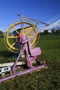 climate change? ski lift without snow, amden, st. gall, switzerland - stock photo