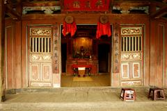 Vietnam, hoi an , altar with room for praying on japanese bridge  Stock Photos
