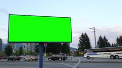 Green billboard for your ad Stock Footage