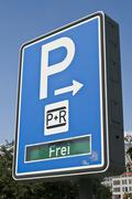 Park and ride indication sign in munich, bavaria, germany Stock Photos
