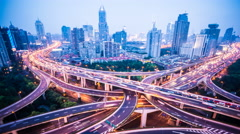 4k resolution Shanghai city traffic junction time lapse Stock Footage