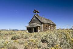 old schoolhouse, wildwest, oregon, usa - stock photo
