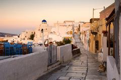 Lane in oia, santorini, cyclades, aegean sea, greece Stock Photos