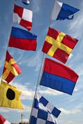 Stock Photo of signal flags at a small harbour, waren at the mueritz, mecklenburg-western po
