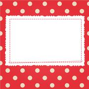 scrap card with polka dot and frame - stock illustration