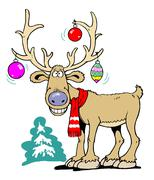 Stock Illustration of merry reindeer with x-mas ball ornament in his antlers
