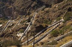 donkey stairs to the harbour, thira, santorini, cyclades, aegean sea, greece - stock photo