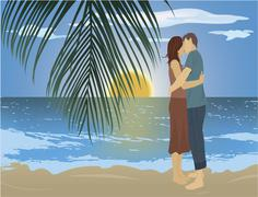 Couple on the beach Stock Illustration