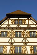 Stock Photo of stein am rhein - a detail view from a old half timbered house - switzerland,