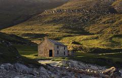 Ruins at the peninsula achill island, ireland Stock Photos