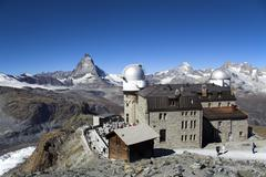 planetarium and mountain station on the gornergrat, zermatt, canton valais, s - stock photo