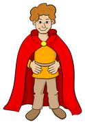 Squire with red cape Stock Illustration