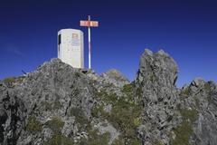 ascent to the three sisters formation (drei schwestern), principality of liec - stock photo