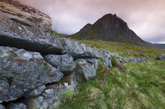 stonewall, between unstadt und eggum, lofoten, norway, scandinavia, europe - stock photo