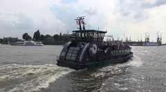 4k Ferry starts boat trip round the Hamburg harbour Stock Footage