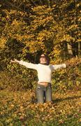 woman in autumn - stock photo