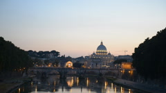 St. Peter's Basilica Vatican, Rome Skyline Ponte Sant Angelo Bridge Dusk Night Stock Footage
