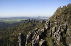 Stock Photo of view of schrammsteine, elbe sandstone mountains, saxony, germany