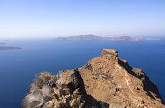 Skaros rock in front of the caldera, santorini, cyclades, aegean sea, greece Stock Photos