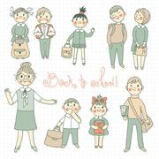 Stock Illustration of The teacher with the students. Back to school.