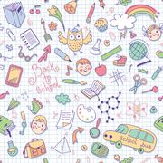 Back to school. Vector seamless pattern. - stock illustration