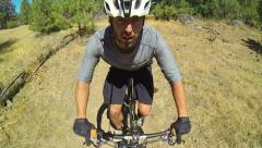 Point Of View Extreme Mountain Biker Riding on Trail Stock Footage