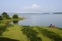 Lipno dam lake udolni nadrz lipno sumavske more sumava along the vlltava rive Stock Photos
