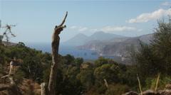 Southern mediterranean islands in sicilian archipelago Eolie Stock Footage