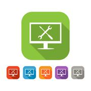 Color set of flat computer repair icon - stock illustration