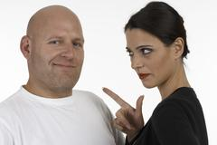 woman remonstrate with a man - stock photo