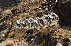 cable car to the harbour, thira, santorini, cyclades, aegean sea, greece - stock photo