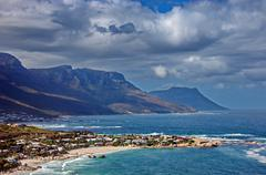 Resort village at Atlantic coast, Camps bay, Cape Town - stock photo