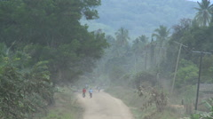 Long dirt road in the african jungle Stock Footage