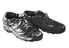 Pair of old casual shoes Stock Illustration