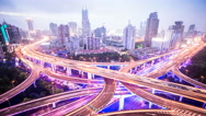 Stock Video Footage of 4k resolution Shanghai city traffic junction time lapse