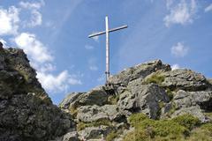 Summit cross, bruchhauser steine, rothaarsteig hiking trail, sauerland region Stock Photos