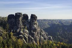 Stock Photo of rock landscape near the bastei, elbe sandstone mountains, saxony, germany