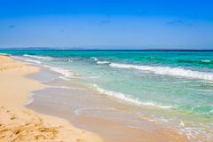 formentera balearic island view from sea of the west coast - stock photo