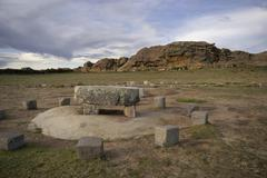 cult site of the inka at isla del sol, lake titikaka, bolivia - stock photo