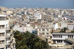view of palm tree avenue the old city medina and the sea cacablanca morocco - stock photo
