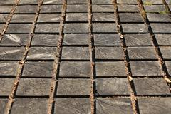 Cracked paving wooden walkway Stock Photos