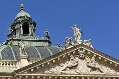 lady justice, innocence and vice on the palace of justice, south front and do - stock photo