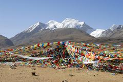 Colourful prayer flags wave below ice-capped nyenchen tanglha (7162 m) tibet  Stock Photos